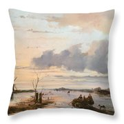 Late Winter In Holland Throw Pillow by Nicholas Jan Roosenboom