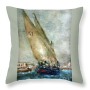 Latini Boat Entering Grand Harbour Valletta  Throw Pillow