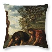 Latona Changing The Lycian Peasants Into Frogs Throw Pillow