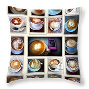 Latte Art Collage Throw Pillow