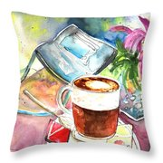 Latte Macchiato In Italy 01 Throw Pillow by Miki De Goodaboom