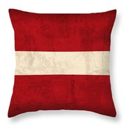 Latvia Flag Vintage Distressed Finish Throw Pillow