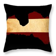 Latvia Grunge Map Outline With Flag Throw Pillow