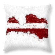 Latvia Painted Flag Map Throw Pillow