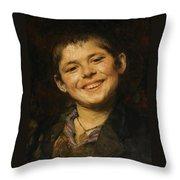 Laughing Boy Throw Pillow