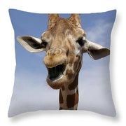 Laughing Giraffe Throw Pillow