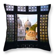 Laughing Gnome In Venice Throw Pillow