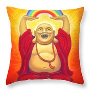 Laughing Rainbow Buddha Throw Pillow by Sue Halstenberg