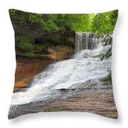 Laughing Whitefish Waterfall Throw Pillow