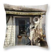 Launch Office Mcmillian Wharf Provincetown Throw Pillow
