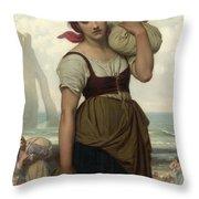 Laundress At Etretat Throw Pillow