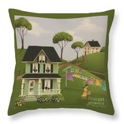 Laundry Day Throw Pillow by Catherine Holman