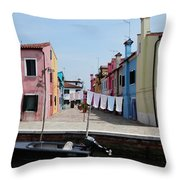 Laundry Day In Burano Throw Pillow