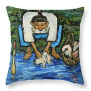 Laundry Girl Throw Pillow