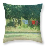 Laundry Hanging From The Tree Throw Pillow