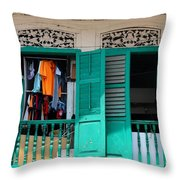 Laundry Hanging Seen Through Open Wood Shutter Windows Singapore Throw Pillow