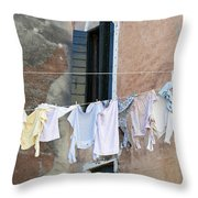 Laundry I Color Venice Italy Throw Pillow