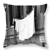 Laundry IIi Black And White Venice Italy Throw Pillow