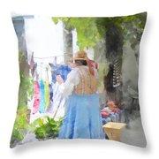Laundry Line Under The Grape Arbor Throw Pillow