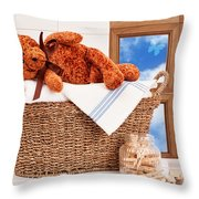 Laundry With Teddy Throw Pillow