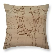 Laurel And Hardy - Thicker Than Water Throw Pillow