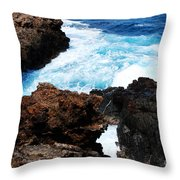 Lava Rock On Aruban Coast Throw Pillow