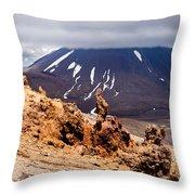 Lava Sculptures And Volcanoe Mount Ngauruhoe Nz Throw Pillow