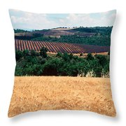 Lavender And Corn Fields In Summer Throw Pillow