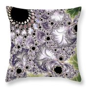 Lavender And Green Fractal Abstract  Throw Pillow