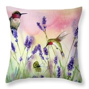 Lavender And Hummingbirds Throw Pillow