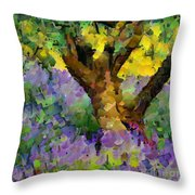 Lavender And Olive Tree Throw Pillow