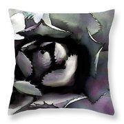 Lavender And Sage Green Spiky Succulent Plant Throw Pillow