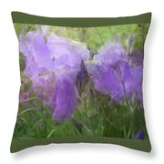 Lavender Blue Iris Garden Throw Pillow