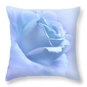 Lavender Blue Rose Flower Throw Pillow