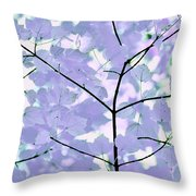 Lavender Blues Leaves Melody Throw Pillow