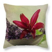Lavender Boat With Lilies Throw Pillow