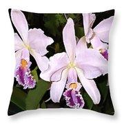 Lavender Cattleya Orchids Throw Pillow
