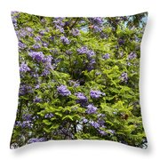 Lavender-colored Blooming Tree Throw Pillow