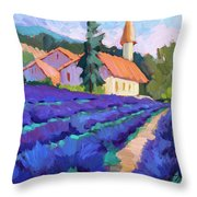 Lavender Field In St. Columne Throw Pillow