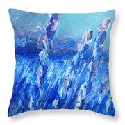 Lavender Field Landscape Throw Pillow