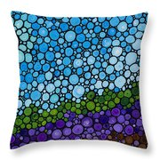 Lavender Fields - France French Landscape Art Throw Pillow by Sharon Cummings