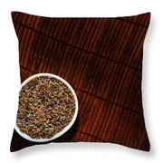 Lavender Flower Seeds In Dish Throw Pillow by Olivier Le Queinec