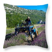 Lavender Harvest In Provence Throw Pillow