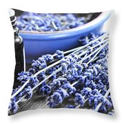 Lavender Herb And Essential Oil Throw Pillow by Elena Elisseeva