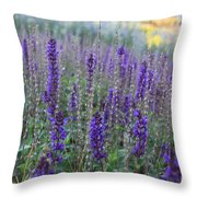 Lavender In The City Park Throw Pillow