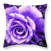 Lavender Rose With Brushstrokes Throw Pillow
