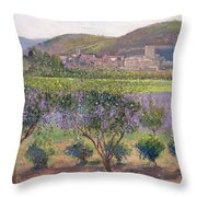 Lavender Seen Through Quince Trees Throw Pillow by Timothy  Easton