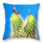 Lawn Mowing On Cactus Throw Pillow