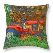 Lawn Tractor And Wood Pile Throw Pillow