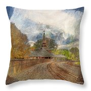 Lawrence Union Pacific Depot Throw Pillow